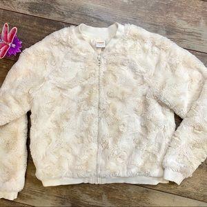 Gymboree Jacket Faux Fur Cream Size 10/12 Pockets